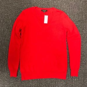 NWT Ann Taylor V-Neck 100% Cashmere Sweater - Red